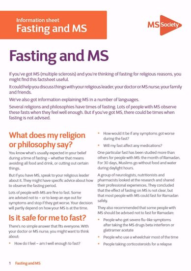 Fasting and MS